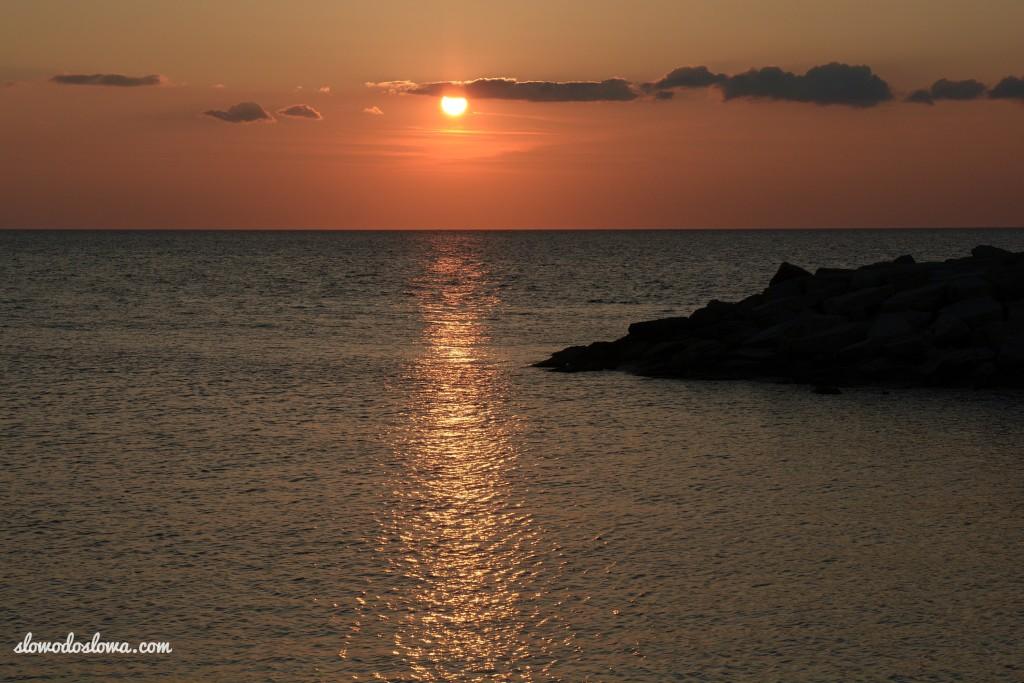 Zachód słońca, Morze Tyrreńskie, Kampania, Włochy