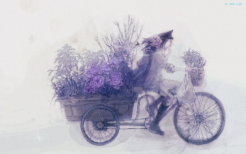 Bukieciarka na rowerze