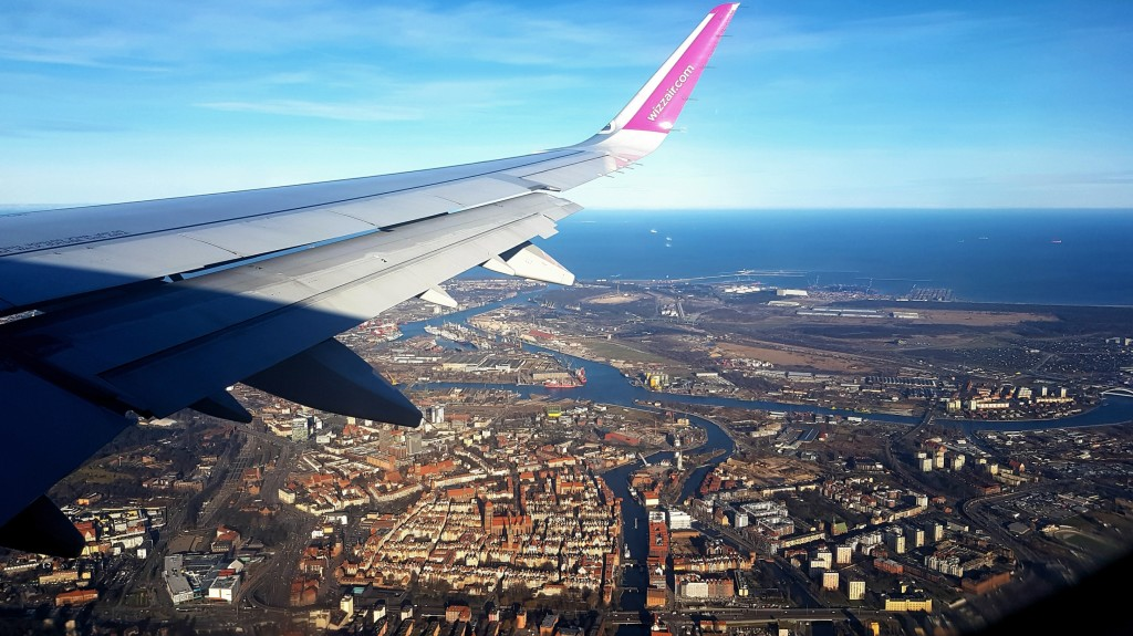 Gdańsk z okna samolotu